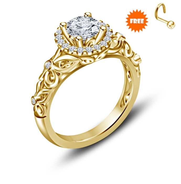 Round Cut White Diamond Solitaire Engagement Ring,18k Yellow Gold Finish