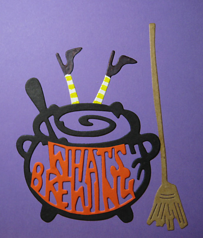 4pc Cauldron, Broom, Legs Cutting Dies, Witch Crash Landing