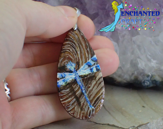 Beautiful handpainted blue dragonfly wood pendant resin coat on both sides faux