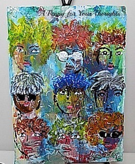 Crowded Locale Mixed Media Canvas Covered Panel. Ready to Ship