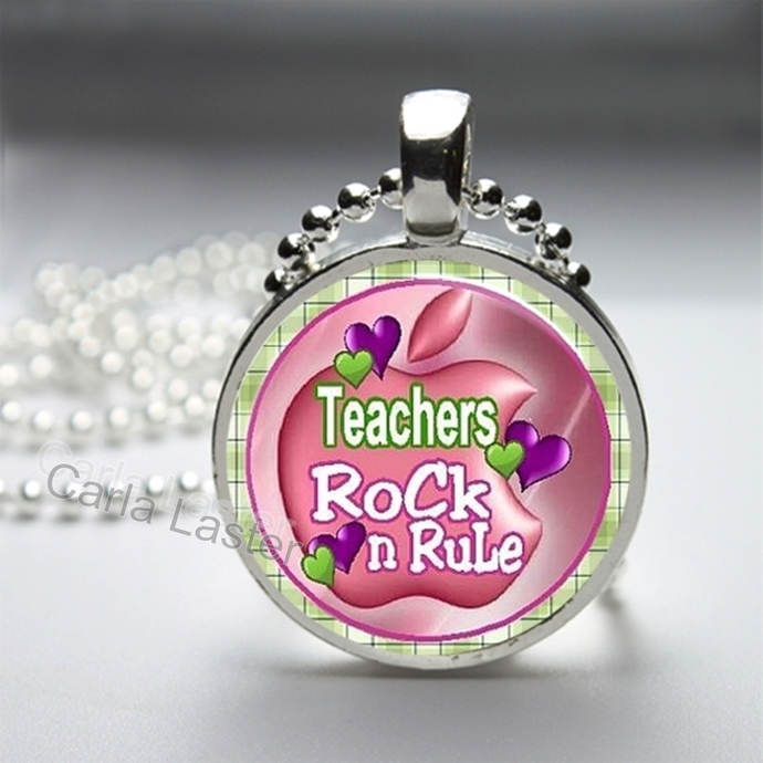 Teacher gift, inexpensive gift for teacher, Pink necklace, teachers rock and