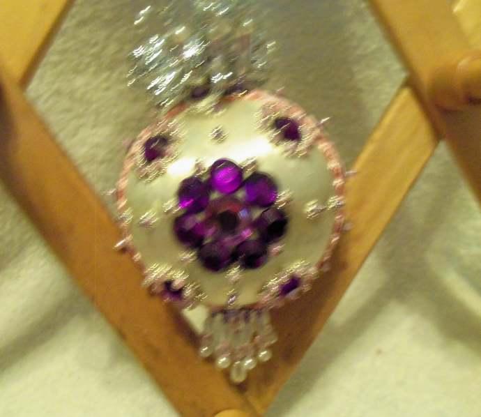 Purple/Pink Handmade White Silk Christmas Ornament w/Sequins