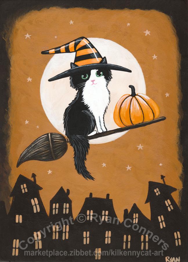 Pretty Little Witch Original Halloween Cat Folk Art Painting