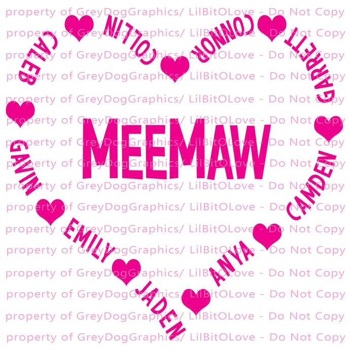 Custom Personalized Grandma Heart with Grandkid Names Creating the Heart Meemaw