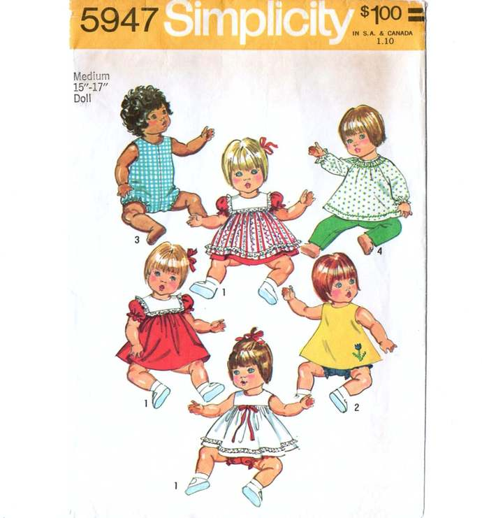 Simplicity 5947 Baby Doll Clothes 70s Vintage Sewing Pattern Size Med 15-17 inch