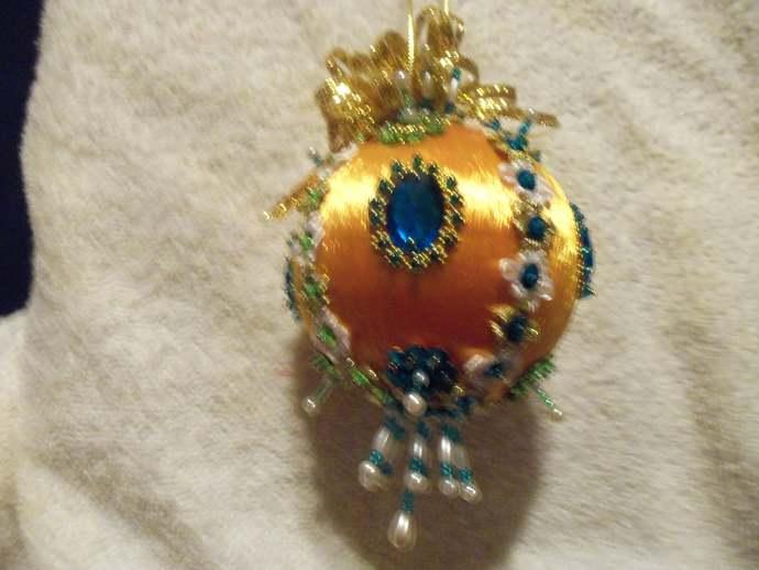 Gold Silk Christmas Ornament w/Green, Gold & Pearl Embellishments