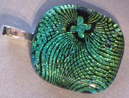 Swirling Black Pattern on Green Dichroic Glass Pendant
