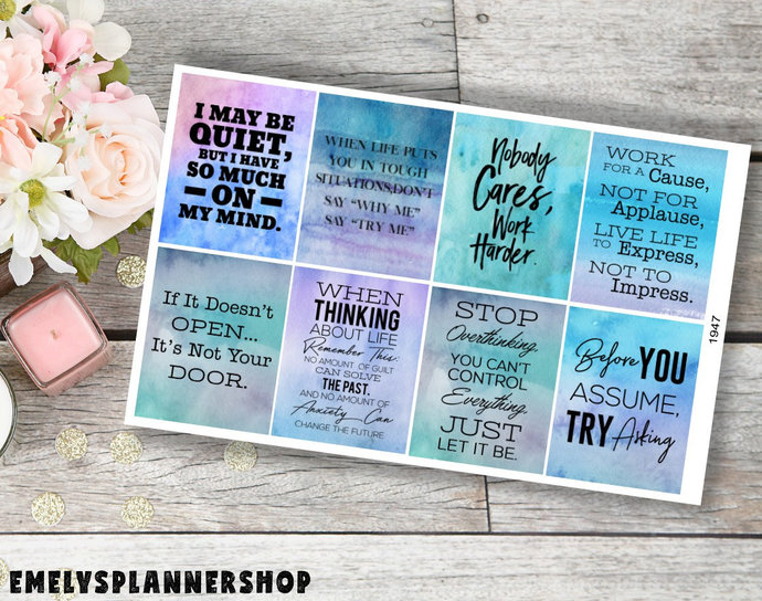Motivational Quote Planner Stickers, Quotes Stickers, Motivational Sticker, Erin