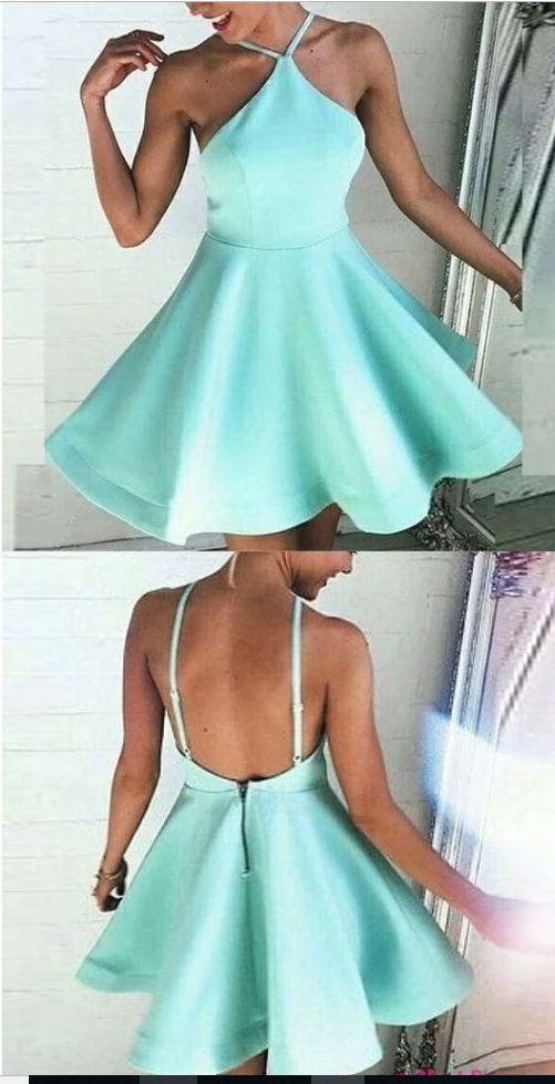 Short homecoming dresses,mint green homecoming dresses,backless homecoming