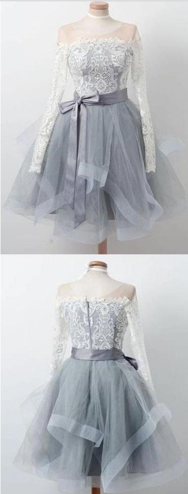Elegant Lace Long Sleeves Organza Zipper Back Short Homecoming dresses,,105