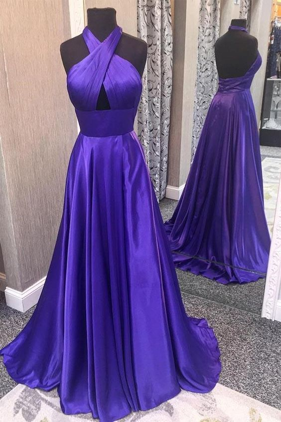 Blue Prom Dress, Halter Prom Gown, A-Line Prom Dress, Satin Prom Gown 9938