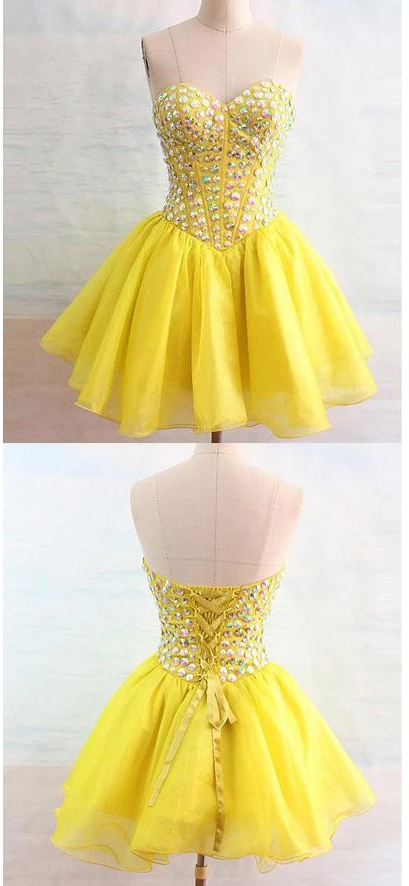 Homecoming Dress,Pink Homecoming Dresses,Short Prom Gown,Yellow Homecoming