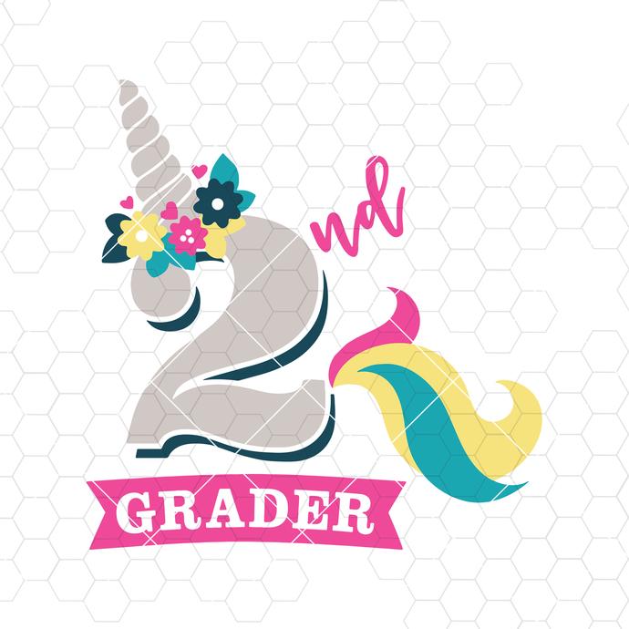 Back to School SVG, Unicorn SVG, 2nd Grade SVG, 2nd Grade Unicorn svg file,