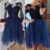 Navy Homecoming Dresses,3/4 Sleeves Short Prom Dresses,Simple Party Dresses,111