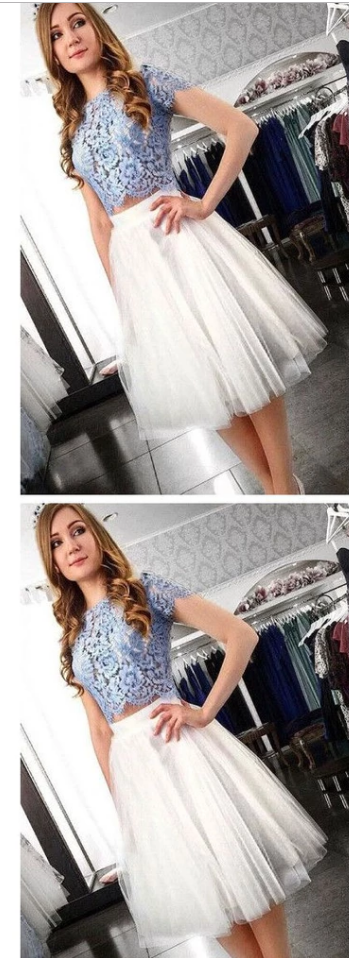 Two Piece Homecoming Dress,Lace Top Homecoming Dress,Short Homecoming