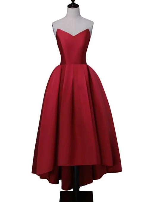Wine Red Satin High Low Homecoming Dresses, Lace-Up Back Sweetheart Neck Prom