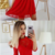 A-Line Round Neck 3/4 Sleeves Red Lace Short Homecoming Dresses,125