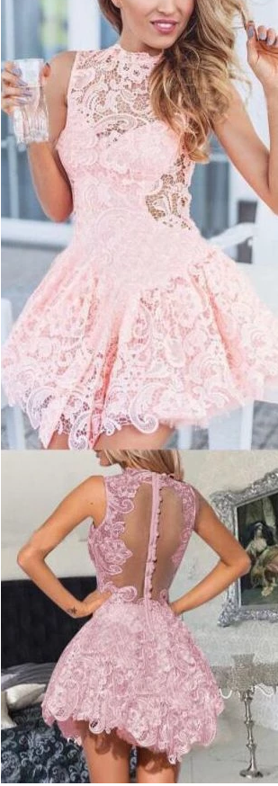 Lace Homecoming Dresses, Crew Neck Homecoming Gowns, Chiffon Homecoming Dress,