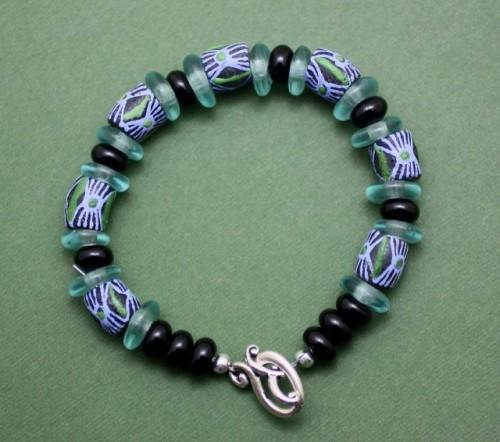 African Krobo Bead Bracelet in Shades of Blue and Green