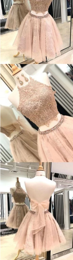Chic two pieces homecoming dresses lace short prom dress halter homecoming