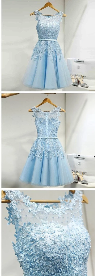Tulle Homecoming Dress,Appliques Homecoming Dresses,Short Homecoming Dress,Prom