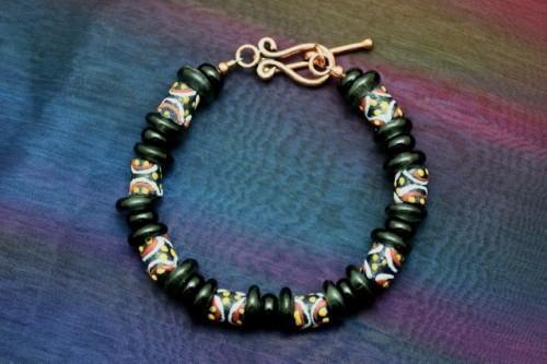 Black African Krobo Beaded Bracelet
