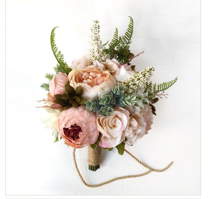 Sen System Fields Wedding Bouquet, Artificial Bridal Bouquet, Pink Flower And