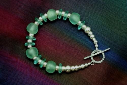 Aqua Glass African Krobo and Sterling Silver Beaded Bracelet