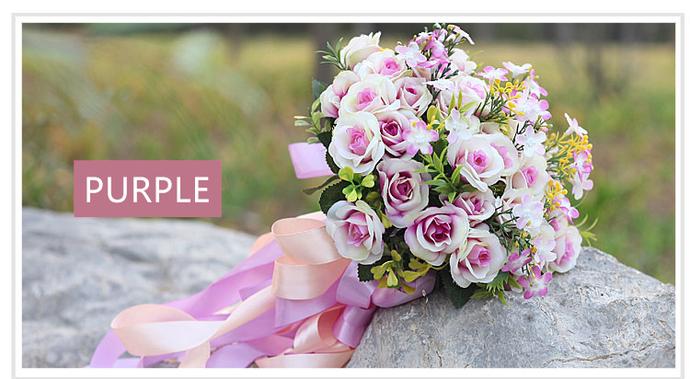 Wedding Bouquet, Artificial Bridal Bouquet, Red Purple Pink Bouquet, Wedding