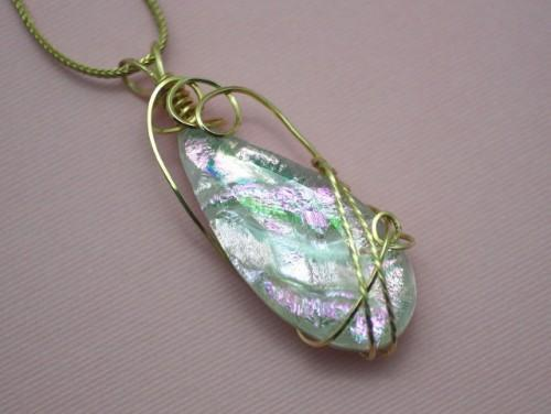 Reflections in Pink Wire Wrapped Teardrop