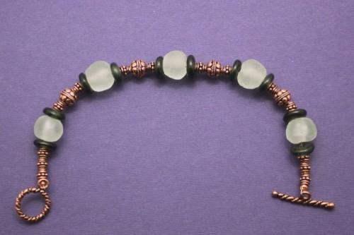 Black and White African Krobo Bead and Copper Bracelet