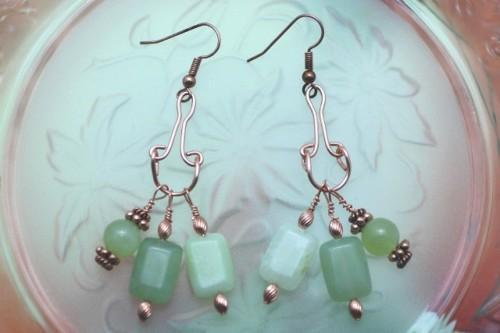 Copper and Spring JadeDangle Earrings