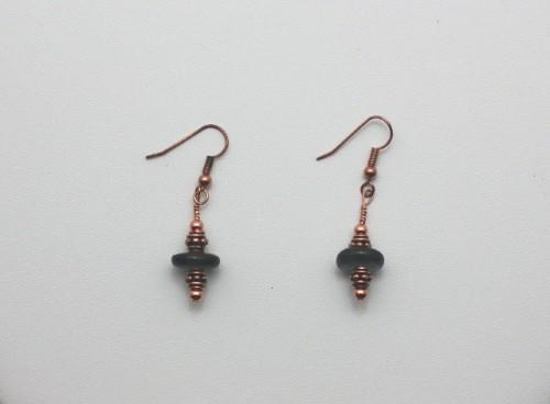 Black Krobo Bead and Copper Earrings