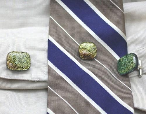 Patterned Gold Green Copper Art Glass Cufflinks