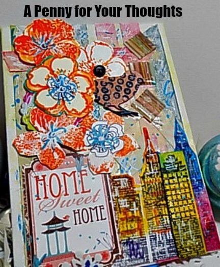 Home Sweet Home Mixed Media Canvas Covered Panel. Ready to Ship