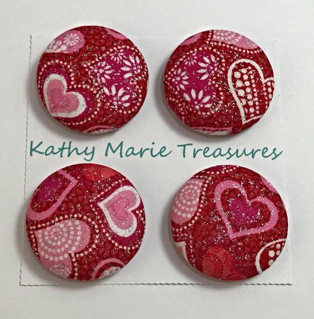Valentines cloth magnets, fabric magnet set, valentine decor, fridge magnet set,