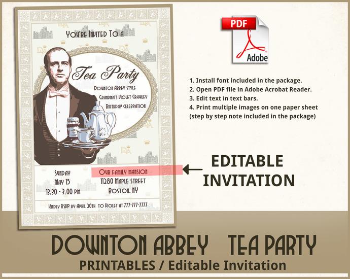 Downton Abbey tea party printables, Downton Abbey Invitation, Downton Abbey