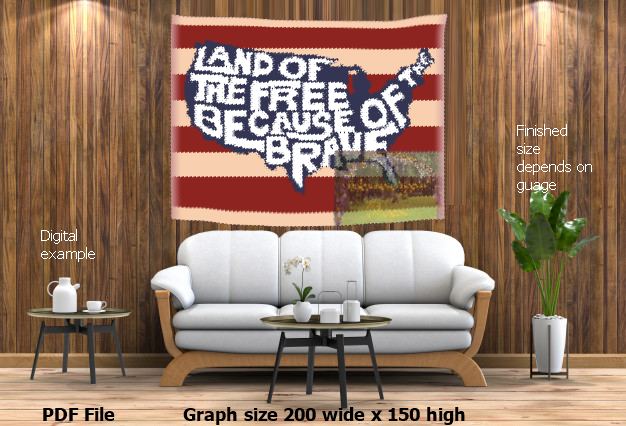 Land of the Free Because of the Brave 200 x 150 graph SC graphghan crochet