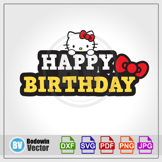 Hello Kitty Happy Birthday SVG / Instant Download / Digital Clipart / Cutting