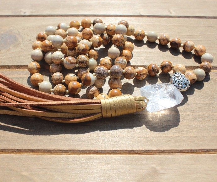 Earth stone Long Beaded Necklace with Tassel by KnottedUpJewelry gifts for women