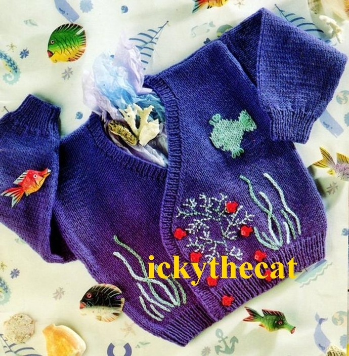 "PDF DIGITAL BY EMAIL BABY KNITTING PATTERN ""UNDER THE SEA""  CARDIGAN OR JACKET"