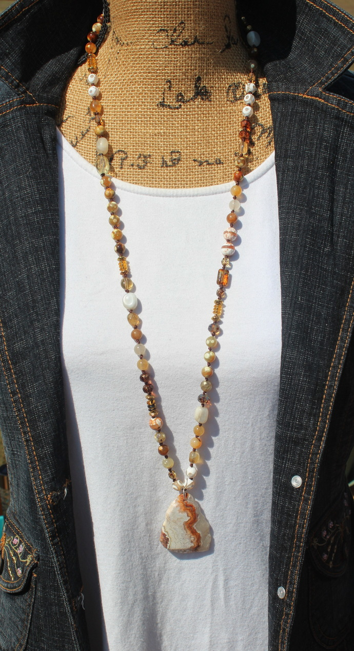 The Joy Necklace by KnottedUp Hand knot one of a kind Long beaded Necklace with