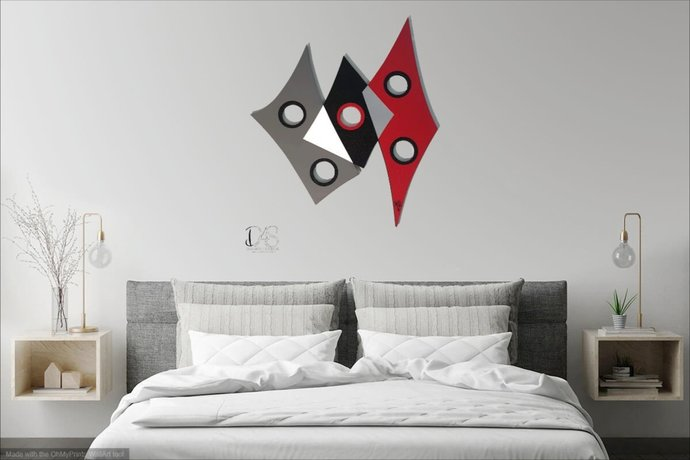 Red black Abstract Wood Wall Sculpture, Contemporary wall art, Unique wall