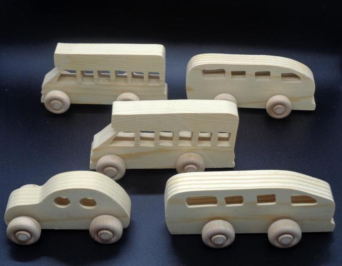 Pkg of 5 Handcrafted Wood Toy Buses, Car OT- 55  unfinished or finished