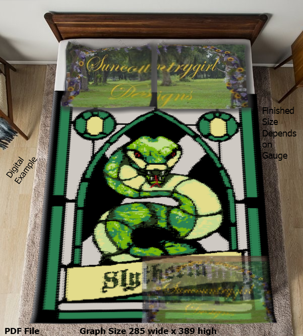 Stain-glass Slyrtherin House Crest