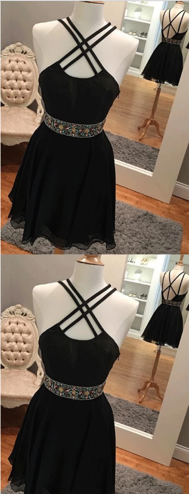 Simple Sexy Backless Short Black Homecoming Dresses With Rhine Stones,142
