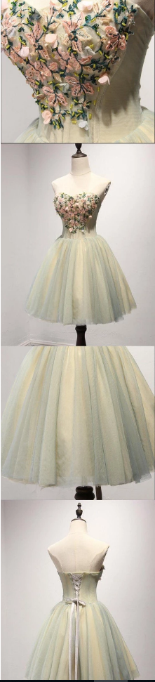 Unique Yellow and Green Sweetheart Homecoming Prom Dresses, Short Party Prom