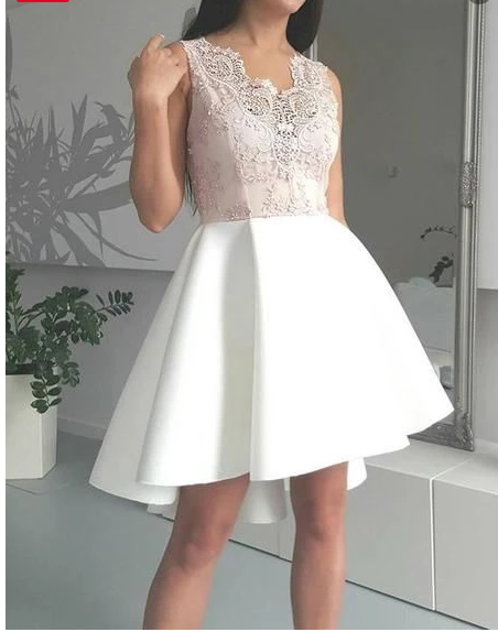 Amazing Lace Appliques Top V-neck Sleeveless Short Homecoming Dresses,146