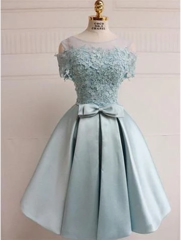 New Arrival Off-shoulder Lace Top Homecoming Dresses With Belt,150
