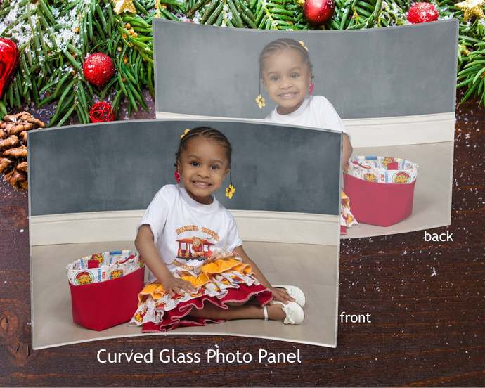 Curved glass photo panel, glass photo gift,